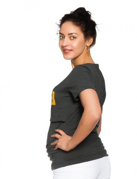 Be MaaMaa Těhotenské/kojicí triko Mom power - grafitové, vel. XL