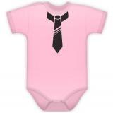 Baby Dejna Body kr. rukávek s potiskem kravaty - sv. růžové