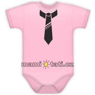 DEJNA Body kr. rukávek s potiskem kravaty - sv. růžové