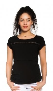 Be MaaMaa Těhotenské/kojicí triko s krajkou - černé, vel. L, Velikost: L (40)