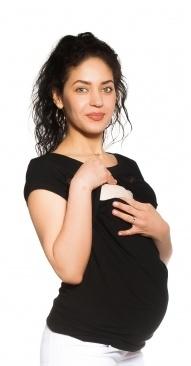 Be MaaMaa Těhotenské/kojicí triko s krajkou - černé, vel. XL