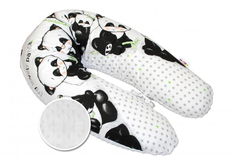Kojící polštář - relaxační poduška Minky Baby Nellys, Panda bílá