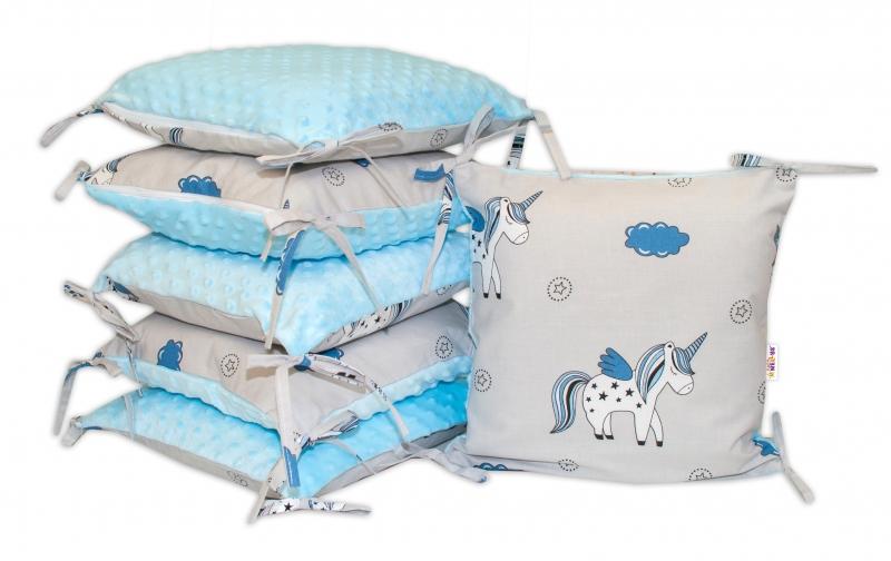 Polštářkový mantinel Baby Nellys, Jednorožec, minky - modrá