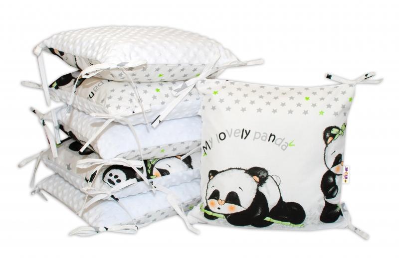 Polštářkový mantinel Baby Nellys, Panda, minky - bílá