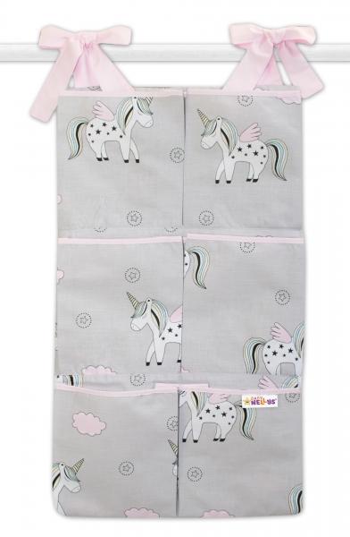 Bavlněný kapsář na postýlku Baby Nellys 6 kapes, Jednorožec - šedý/růžový