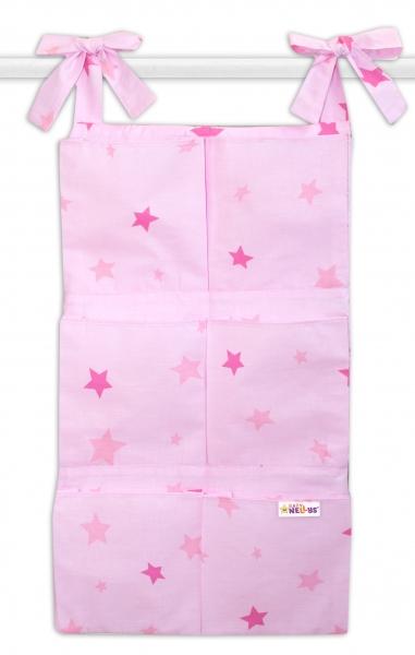 Bavlněný kapsář na postýlku Baby Nellys 6 kapes, Hvězdičky - růžové
