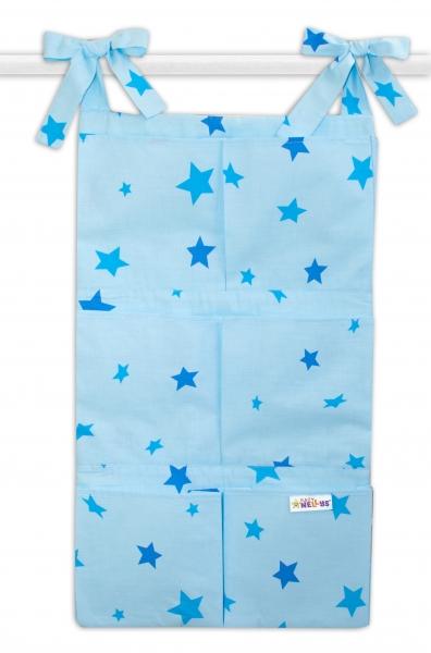 Bavlněný kapsář na postýlku Baby Nellys 6 kapes, Hvězdičky - modré