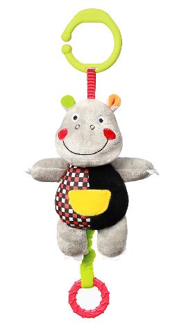 BabyOno Závěsná plyšová hračka s melodií Hrošík Albert, 16 cm