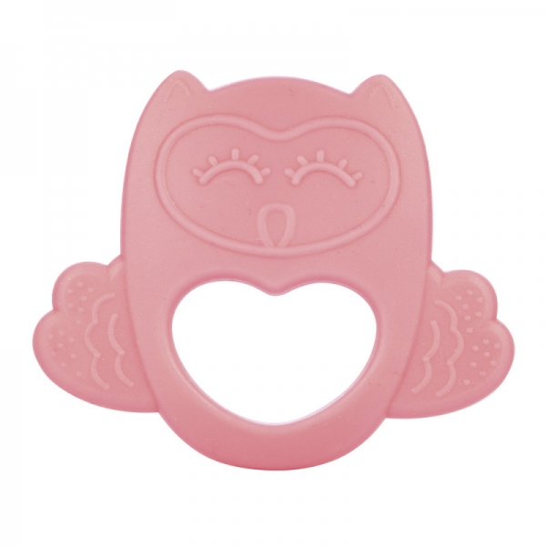 Silikonové chladící kousátko Canpol Babies Sova - růžové