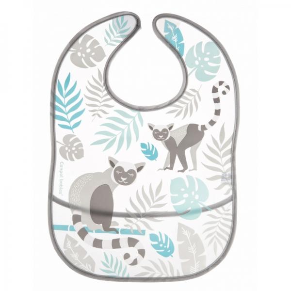Canpol babies Plastový bryndák s kapsičkou Jungle - šedý