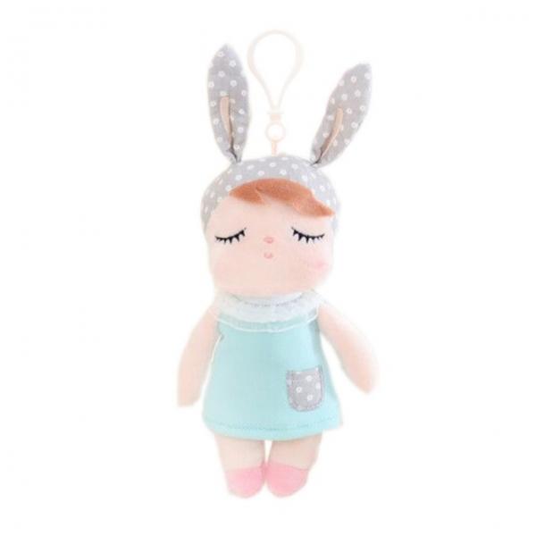 Mini hadrová panenka Metoo s oušky a klipem, mátové šatičky,19cm