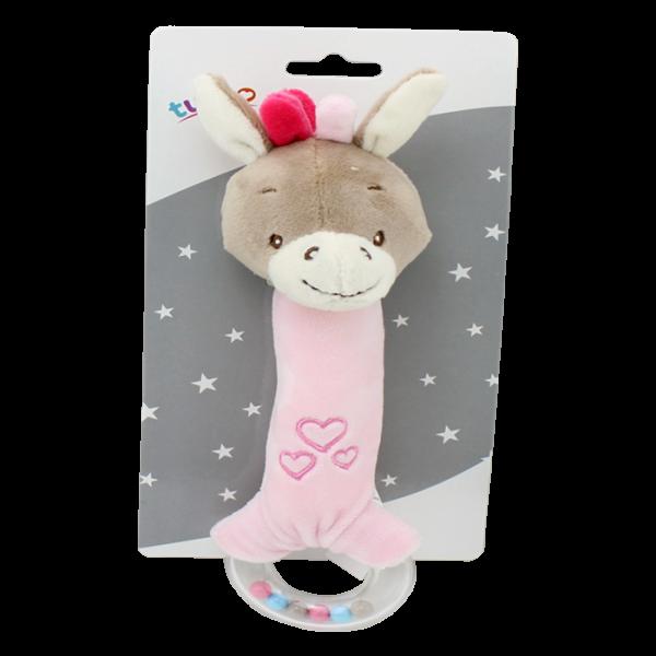 Plyšová hračka Tulilo s pískátkem a chrastítkem Oslík, 21 cm - růžový