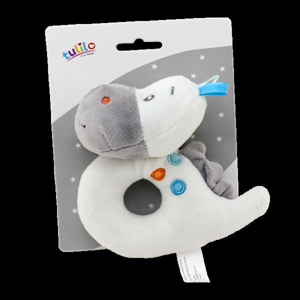 Plyšová hračka Tulilo s chrastítkem Dino, 13 cm - bílá