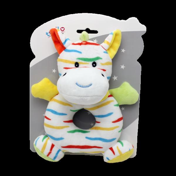 Plyšová hračka Tulilo s chrastítkem Zebra, 17 cm - žlutá