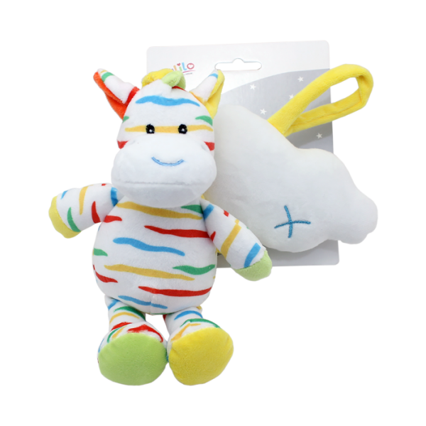 Závěsná plyšová hračka Tulilo s melodií Zebra s mráčkem, 35 cm - žluto/bílá