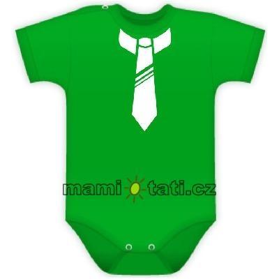 Body kr. rukávek s potiskem kravaty - zelené - vel. 80
