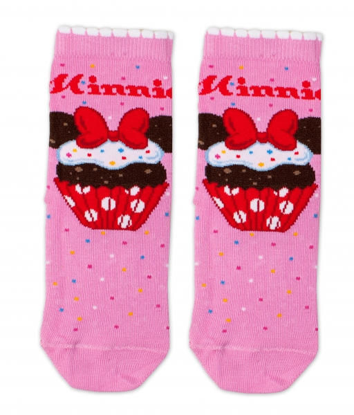 Bavlněné ponožky Disney Minnie Cupcake  - tm. růžové, vel. 27/30