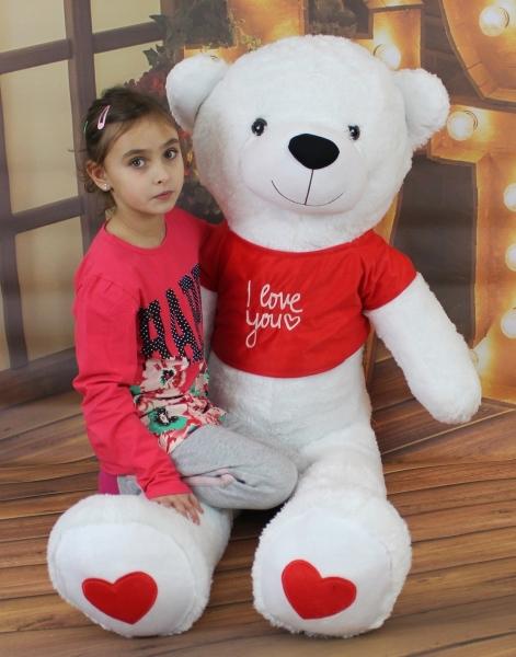 AKCE Baby Nellys Plyšový medvěd 160 cm s trikem  I love - bílý