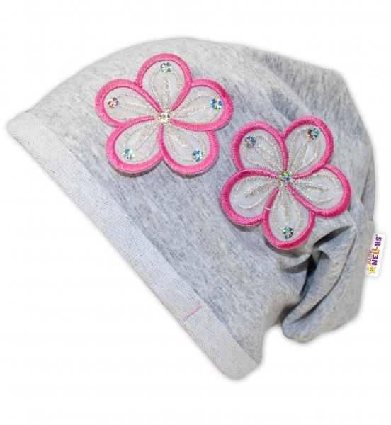 Bavlněná čepička Květinky Baby Nellys ® - sv. šedé/květinky růžové