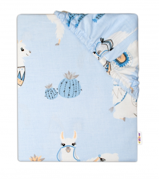 Baby Nellys Dětské bavlněné prostěradlo do postýlky 140x70 cm- Lama modrá