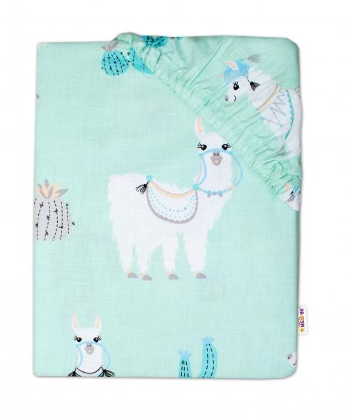 Baby Nellys Dětské bavlněné prostěradlo do postýlky 140x70 cm - Lama mátová