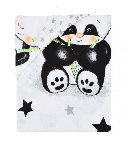 Baby Nellys Dětské bavlněné prostěradlo do postýlky 140x70 cm - Panda bílá