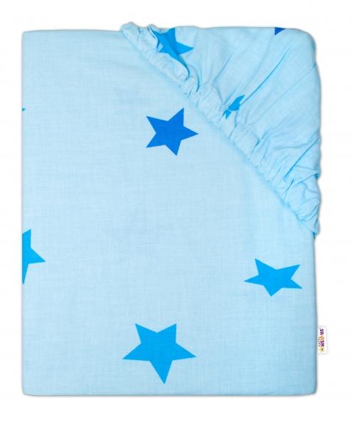 Baby Nellys Dětské bavlněné prostěradlo do postýlky - Hvězdičky modré