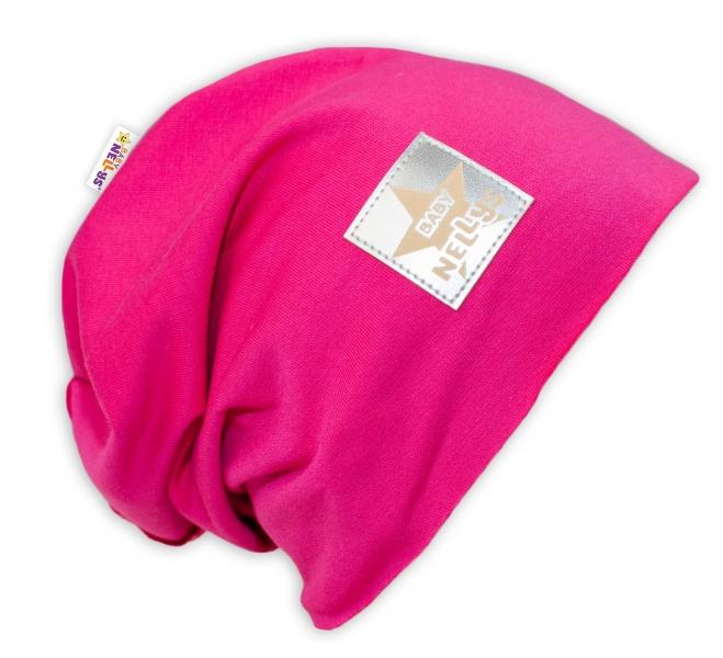 Bavlněná čepička Baby Nellys ® - sytě růžová, vel. 48 - 52 cm
