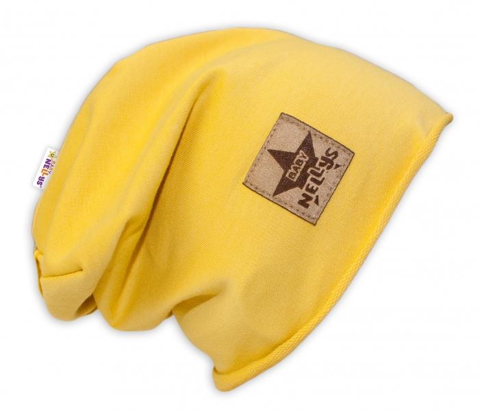 Bavlněná čepička Baby Nellys ® - žlutá, vel. 52 - 54 cm