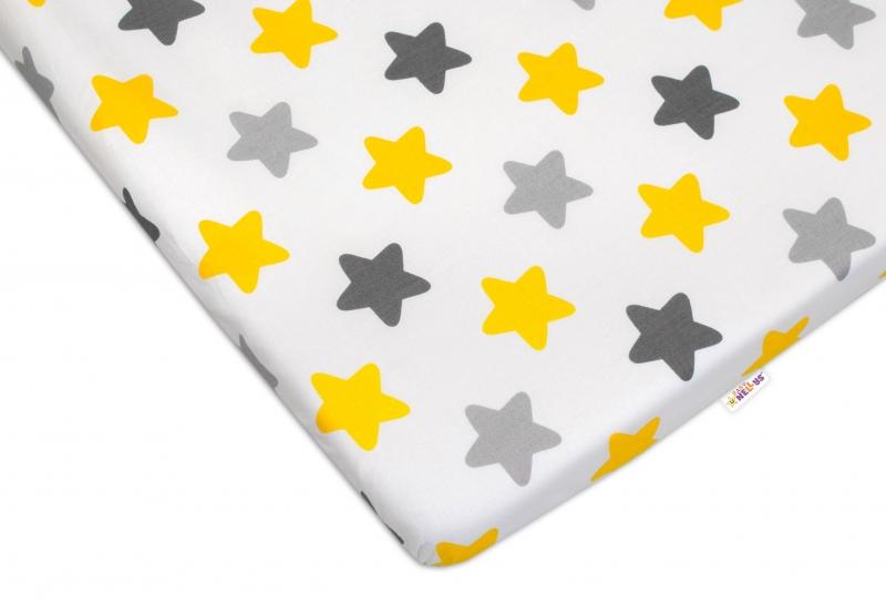 Baby Nellys Bavlněné prostěradlo 60x120 cm - Barevné hvězdičky - žluté/šedé
