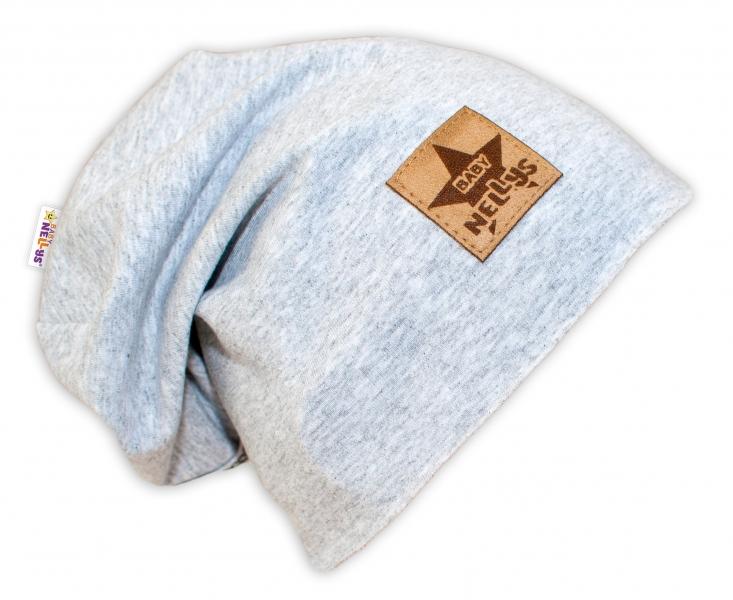 Bavlněná čepička Baby Nellys ® - šedý melír, vel. 48 - 52 cm