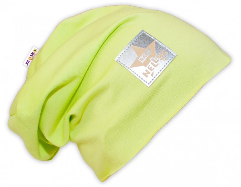 Bavlněná čepička Baby Nellys ® - limetka, vel. 52 - 54 cm