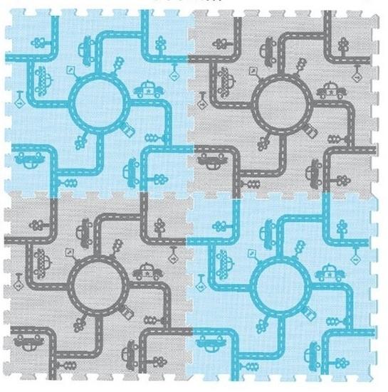 Tulilo Dětská hrací podložka puzzle, 4 ks - Cesta - modro/sv. hnědá