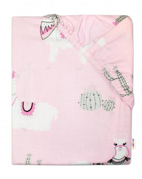 Baby Nellys Dětské bavlněné prostěradlo do postýlky 140x70 cm - Lama růžová