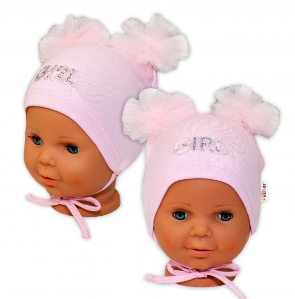 Bavlněná čepička na zavazování Baby Nellys s mašličkami Tutu - sv. růžová, vel. 40 - 42cm