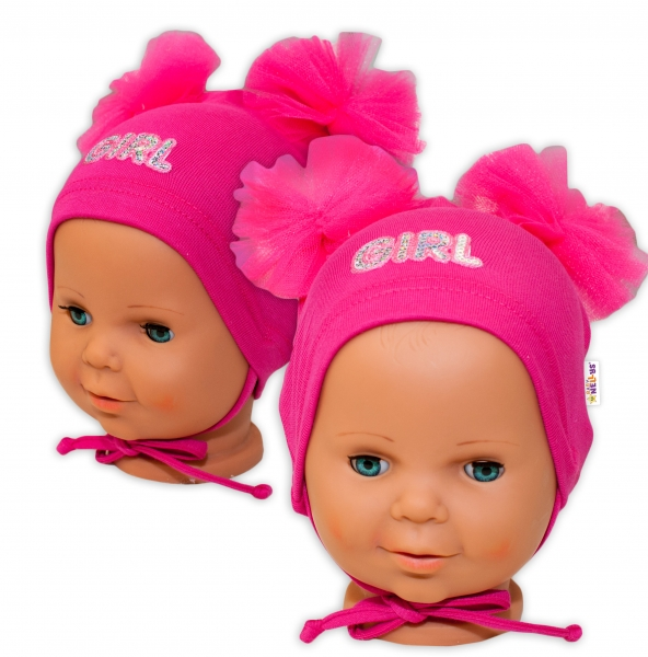 Bavlněná čepička na zavazování Baby Nellys s mašličkami Tutu - tm. růžová