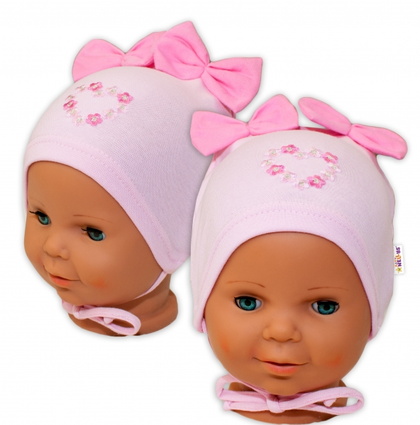 Bavlněná čepička na zavazování Baby Nellys s mašličkami - sv. růžová, 44 - 48cm