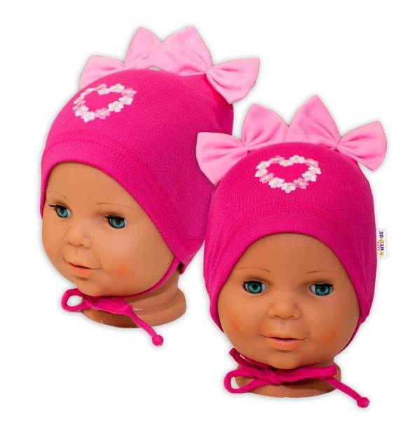 Bavlněná čepička na zavazování Baby Nellys s mašličkami - tm. růžová, 44 -48cm