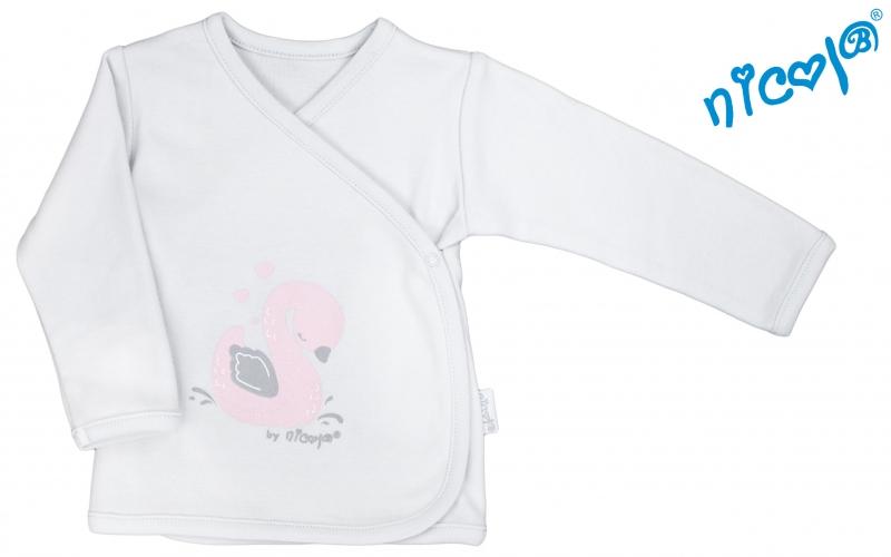Novorozenecká košilka Nicol, Baletka - zapínání bokem - šedável. 52