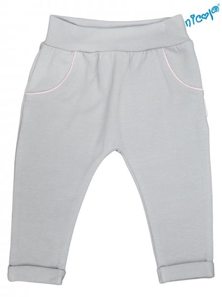 Kojenecké bavlněné tepláky Nicol, Baletka - šedé, vel. 56, Velikost: 56 (1-2m)