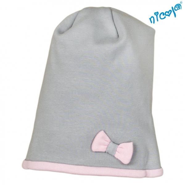 Dětská čepice Nicol, Baletka - šedo/růžová
