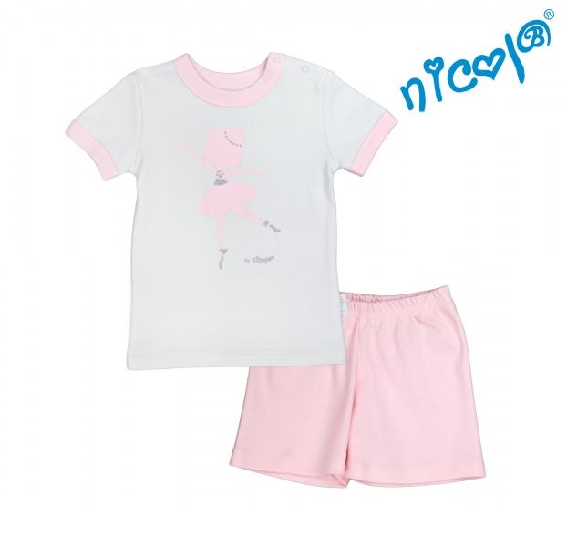 Dětské pyžamo krátké Nicol, Baletka - šedo/růžové