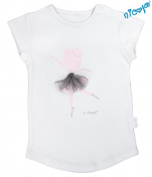 Dětské bavlněné tričko Nicol, Baletka - krátký rukáv, šedé, vel. 128