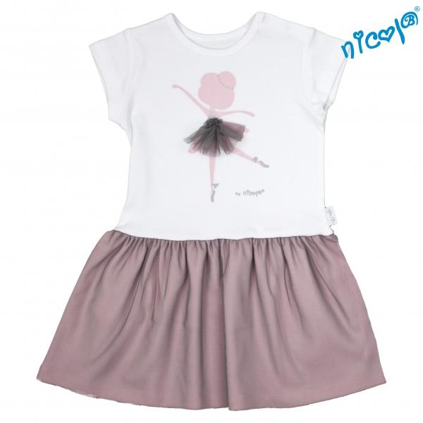 Dětské šaty Nicol, Baletka - šedá/vínová,  vel. 116