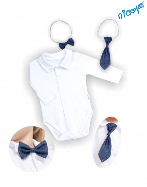 Kojenecké body dlouhý rukáv s kravatou a motýlkem Nicol, Baletka - bílé, vel. 62