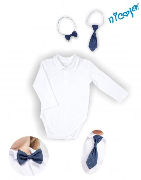 Body dlouhý rukáv s kravatou a motýlkem Nicol, Baletka - bílé, vel. 98