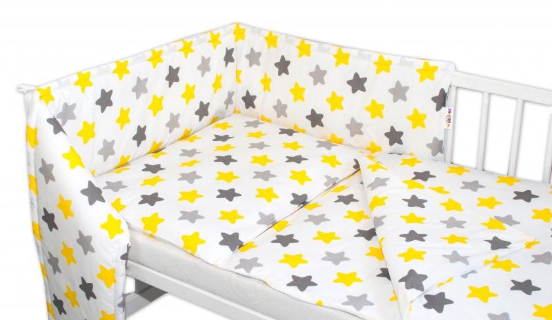 Baby Nellys 3-dílná sada Mantinel s povlečením - Barevné hvězdičky - žluté/šedé