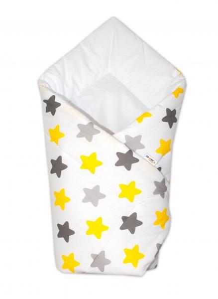 Baby Nellys Zavinovačka Klasik - Barevné hvězdičky - žluté/šedé