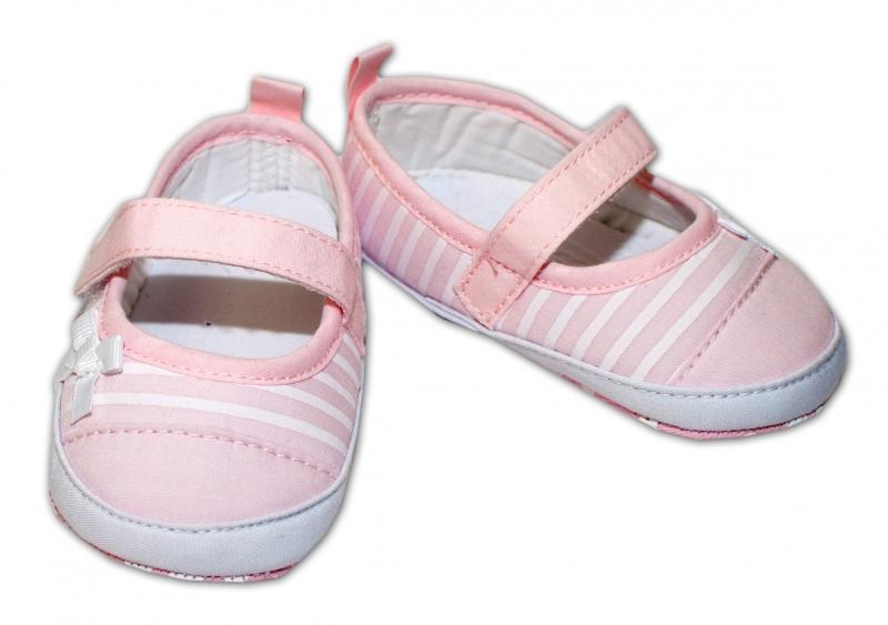 YO ! Kojenecké boty/capáčky bílý proužek - sv. růžové, 6-12 měsíců