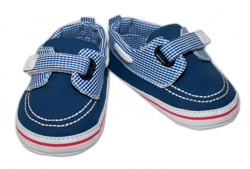 YO ! Kojenecké boty/capáčky námořnické - modré s kostičkami